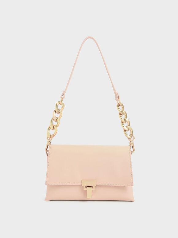 Leather Push-Lock Shoulder Bag, Light Pink, hi-res