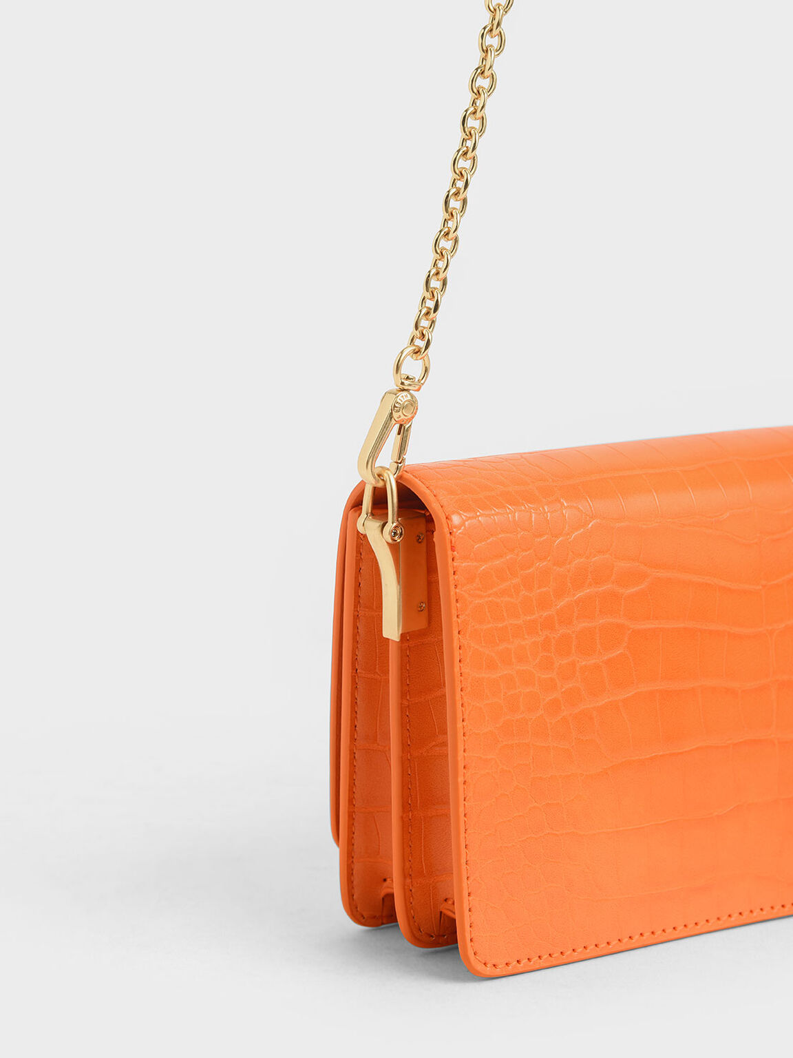 Croc-Effect Clutch, Orange, hi-res