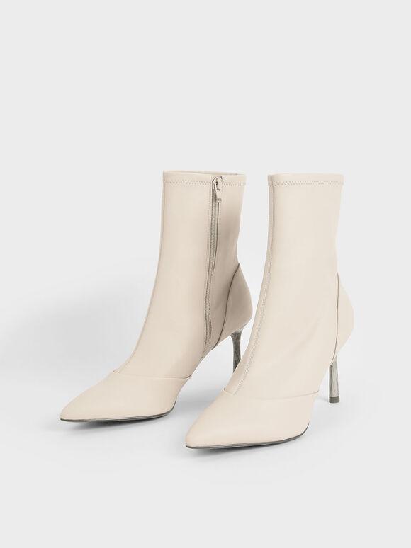Stiletto Heel Ankle Boots, Chalk, hi-res