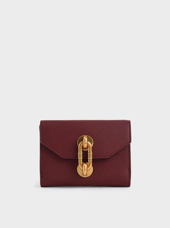 Metallic Turn-Lock Short Wallet, Burgundy, hi-res