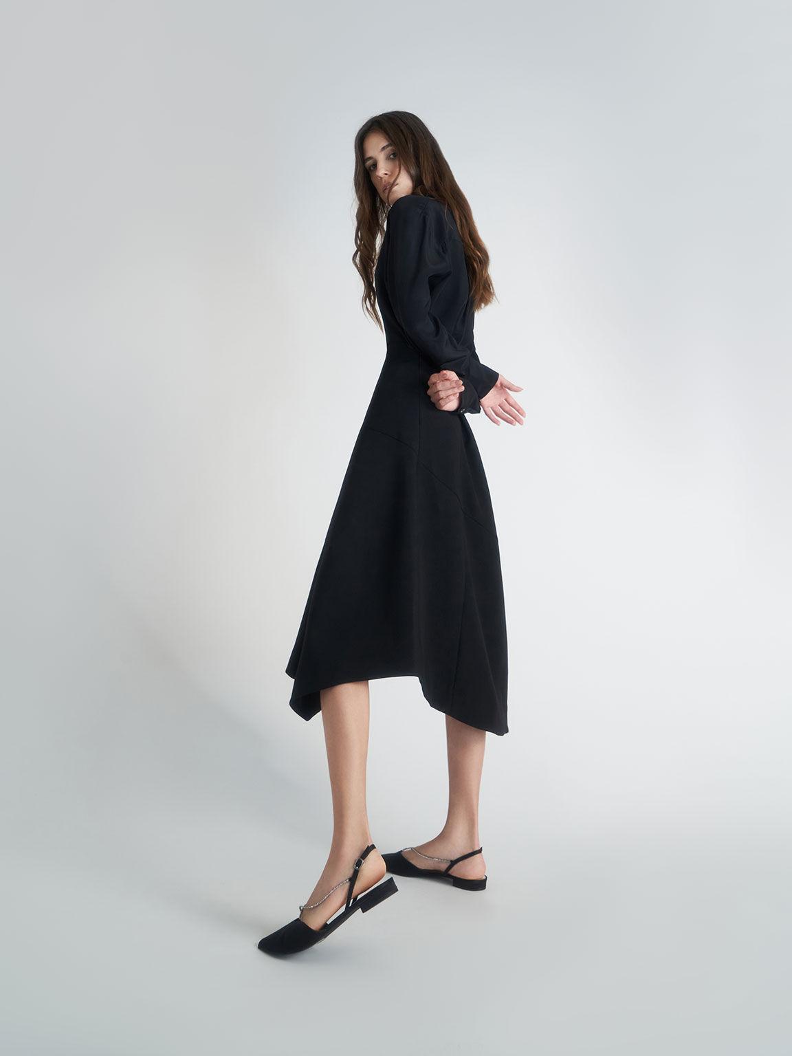 Satin Gem-Embellished Slingback Flats, Black, hi-res