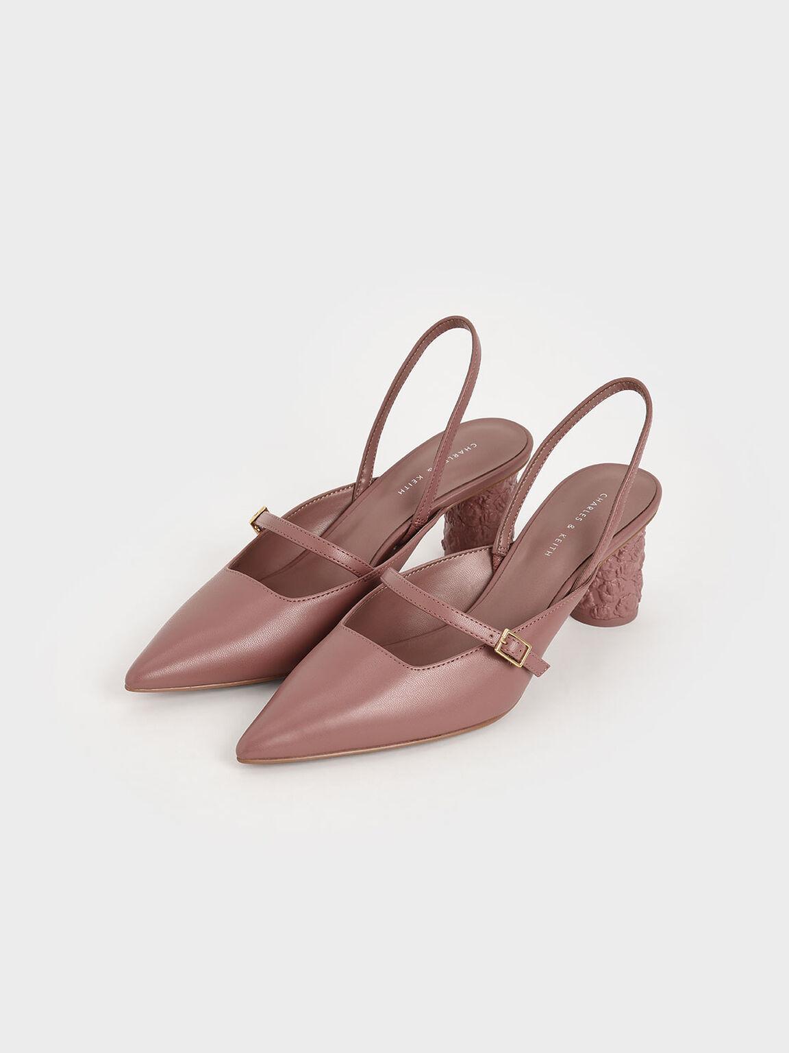 Embossed Heel Slingback Pumps, Pink, hi-res