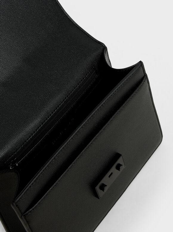 Metallic Push-Lock Shoulder Bag, Ultra-Matte Black, hi-res
