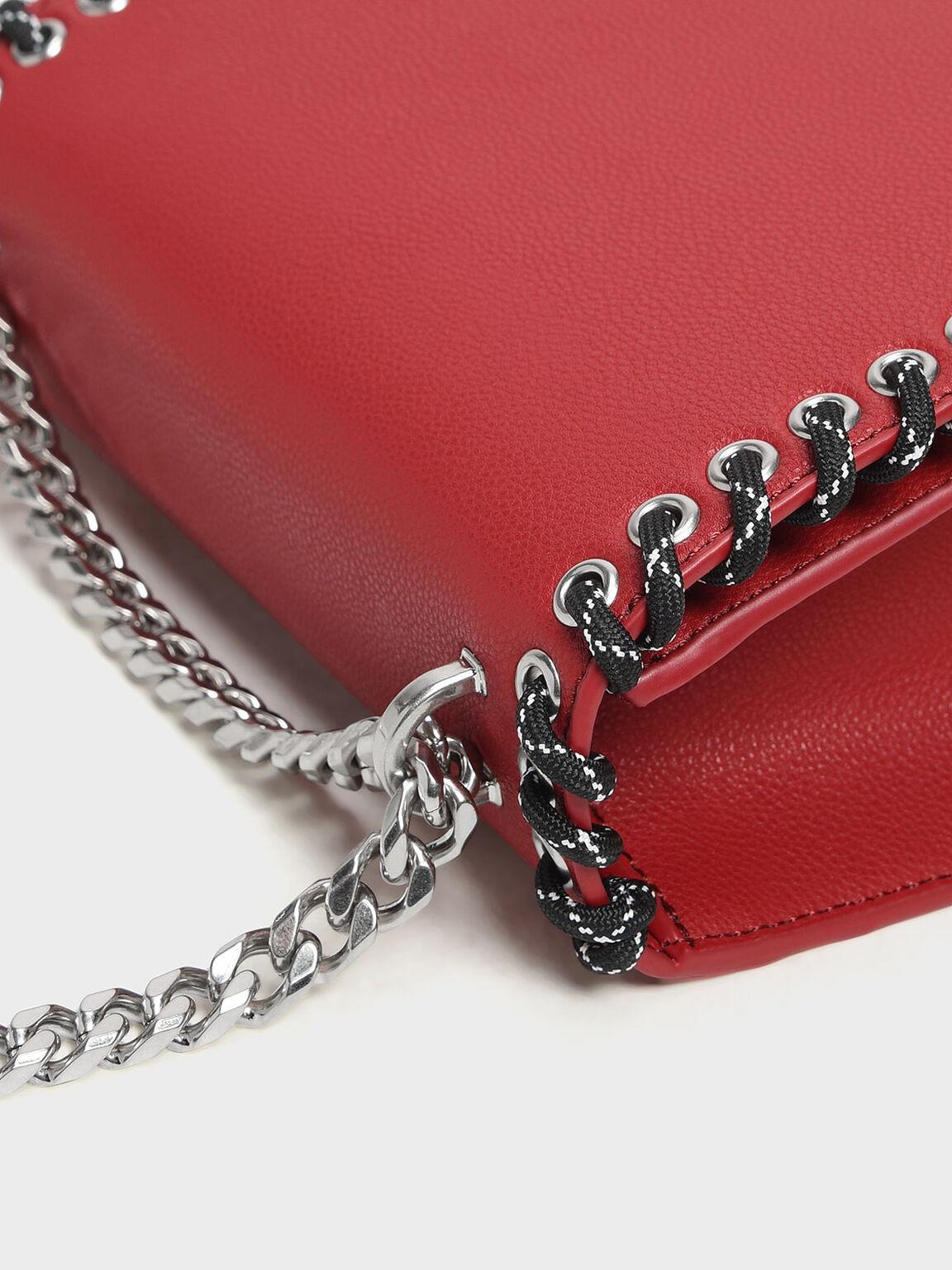 Grommet Accented Crossbody Bag, Red, hi-res