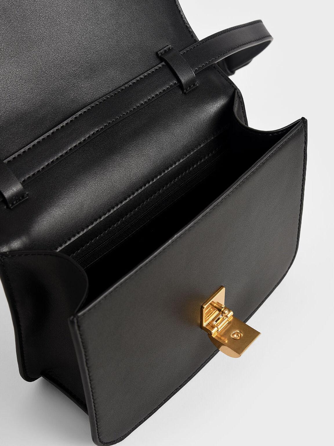 Woven Crossbody Bag, Black, hi-res
