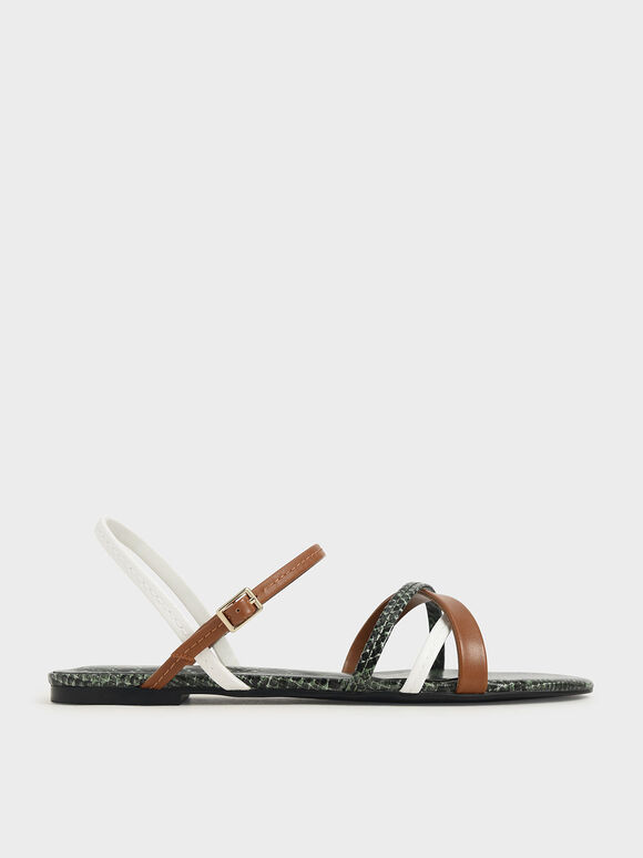 Snake Print Criss-Cross Ankle Strap Flats, Multi, hi-res
