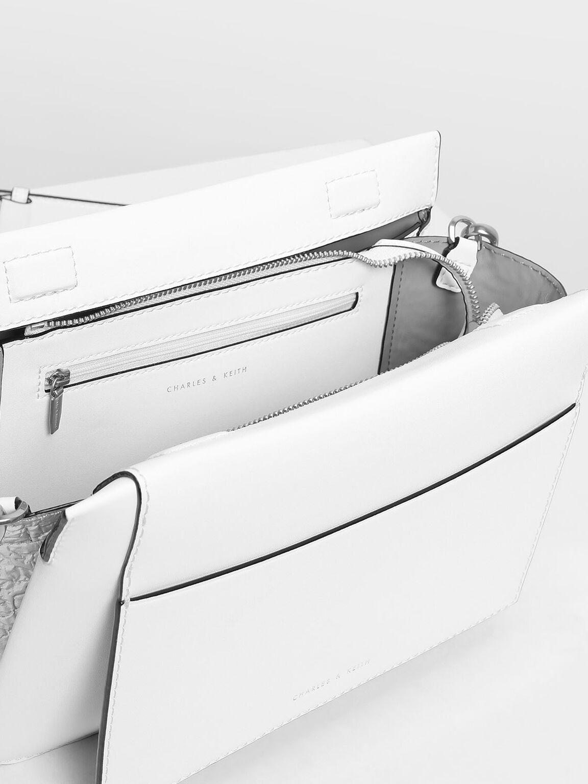 Chain Handle Shoulder bag, White, hi-res