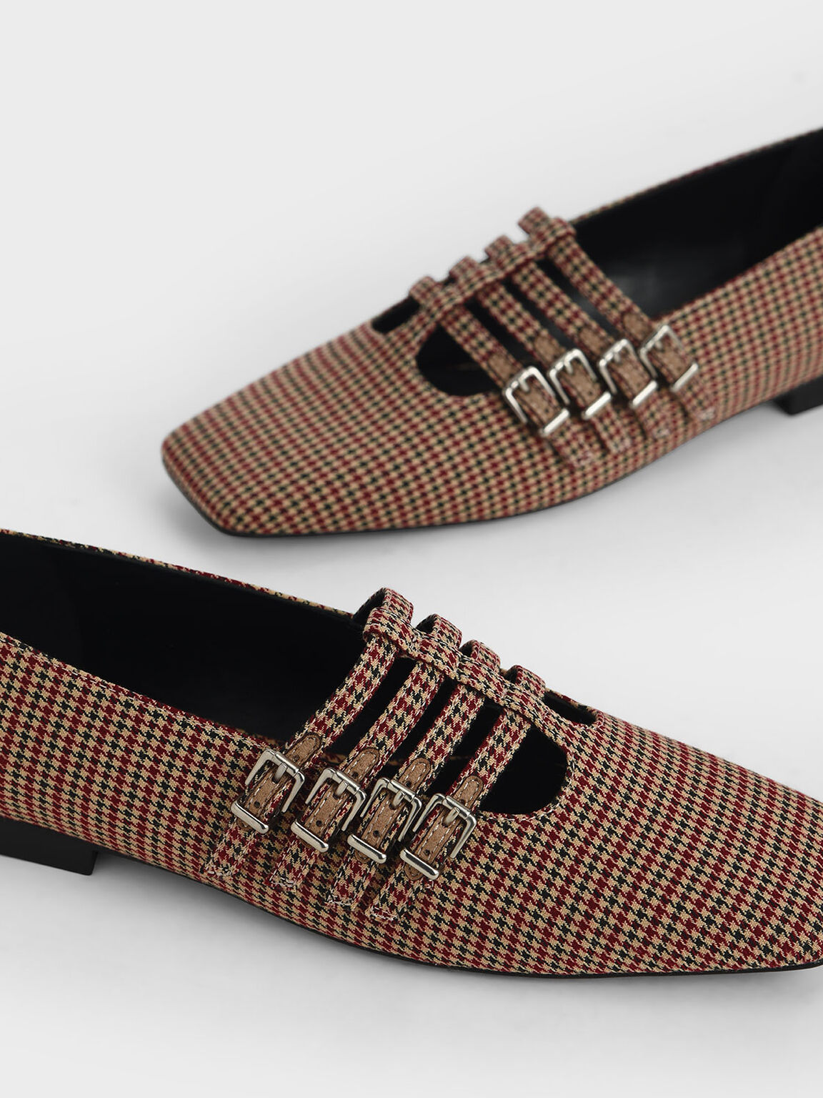 Check Print Buckled Mary Jane Flats, Multi, hi-res