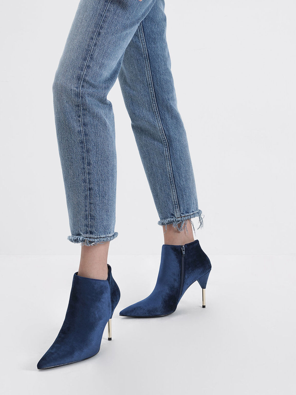 Velvet Metallic Stiletto Heel Ankle Boots, Dark Blue, hi-res