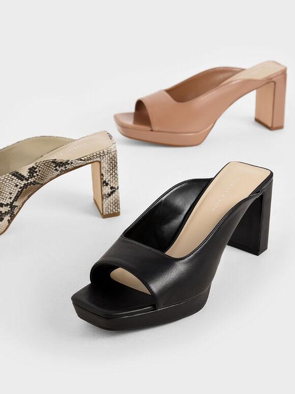 Platform Mules, Black, hi-res