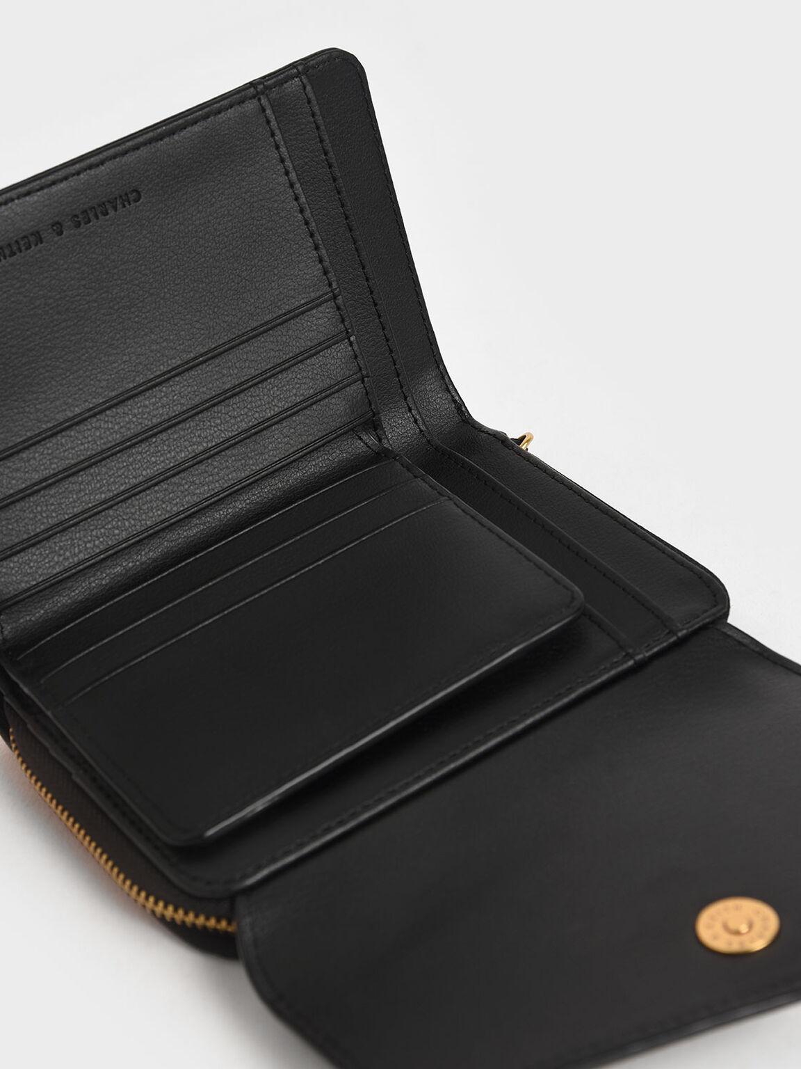 Envelope Short Wallet, Black, hi-res