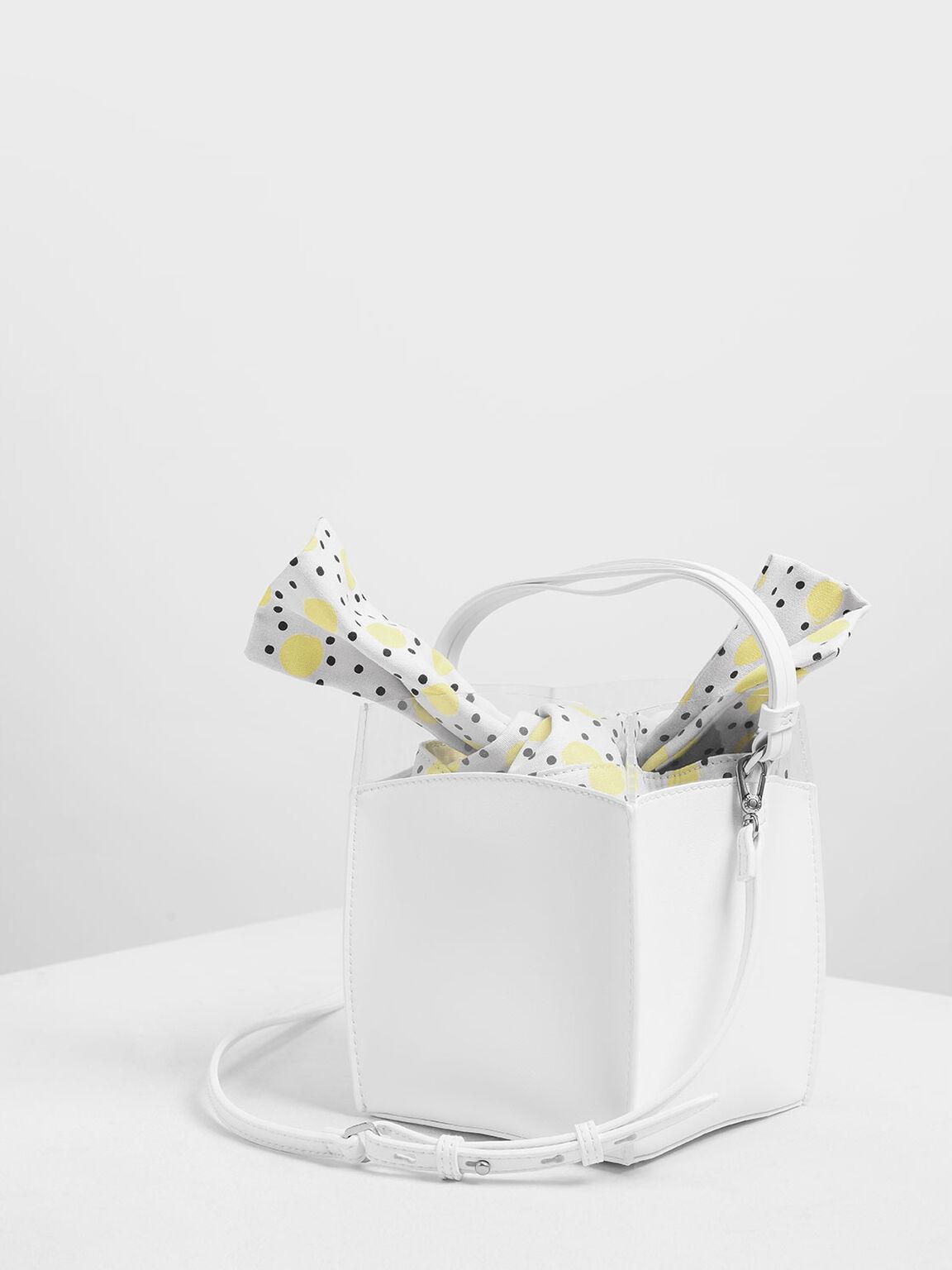 Polka-Dot Print Bucket Bag, White, hi-res