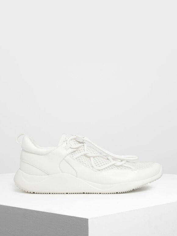 Drawstring Mesh Sneakers, White, hi-res