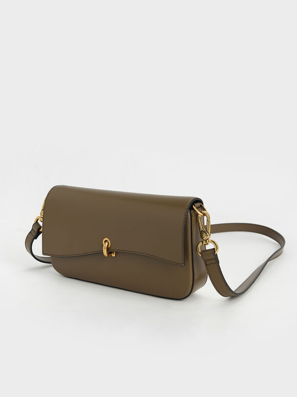 Chain Link Turn-Lock Bag, Khaki, hi-res