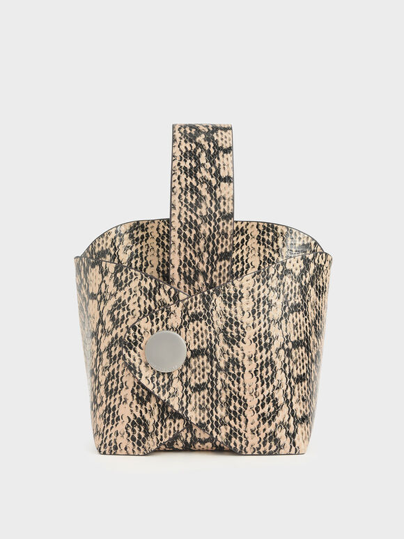 Snake Print Mini Bucket Bag, Beige, hi-res