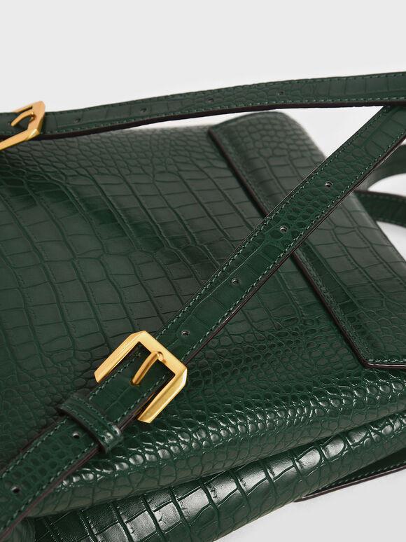 Croc-Effect Stone-Embellished Backpack, Green, hi-res
