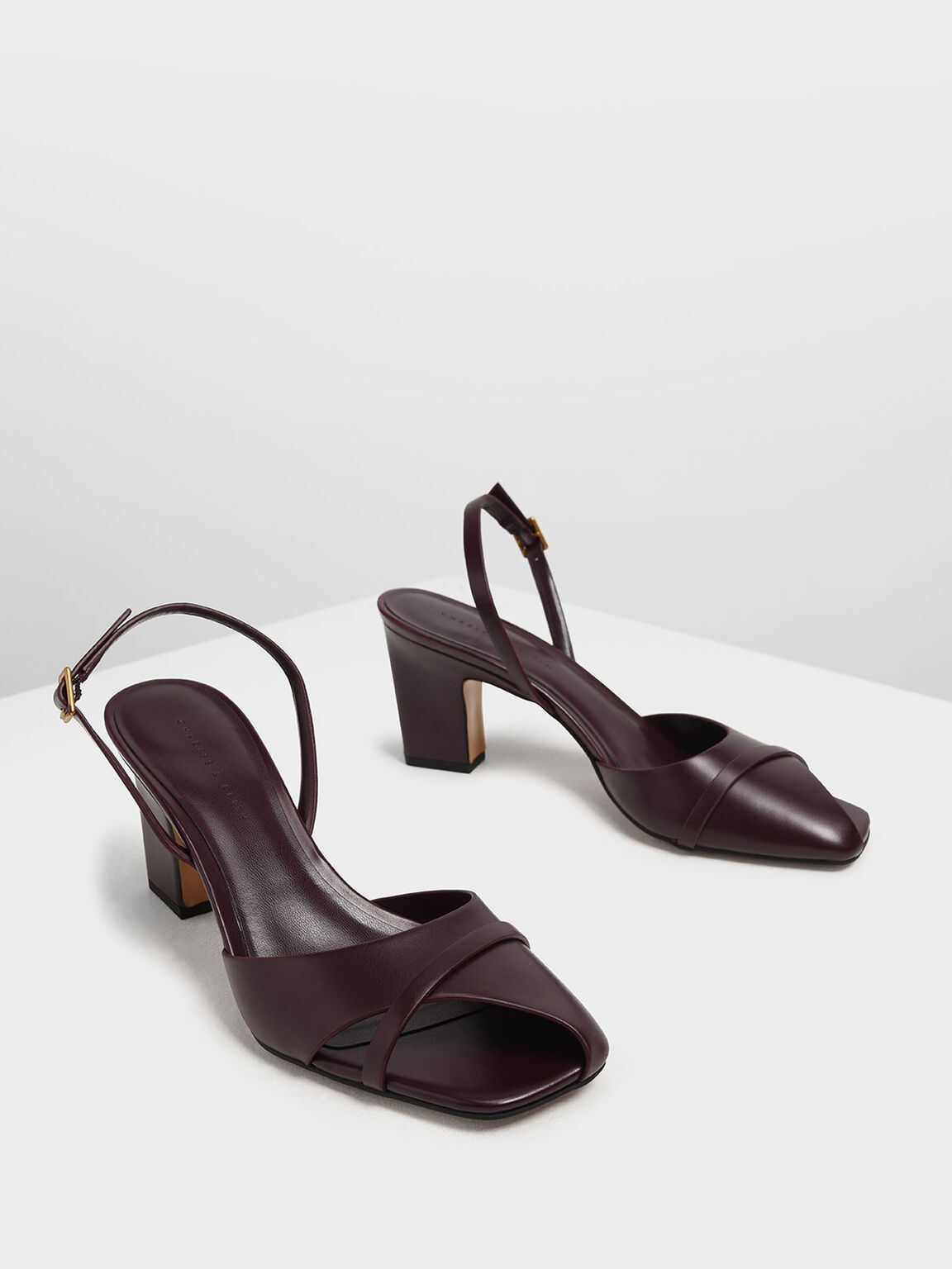 Asymmetrical Peep Toe Heels, Burgundy, hi-res
