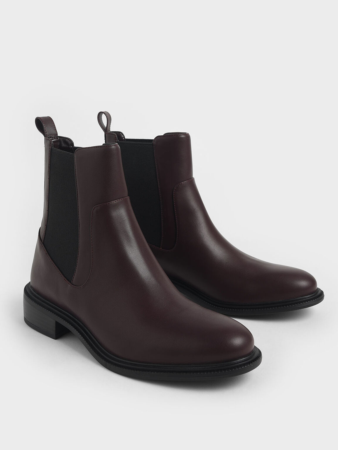 Round Toe Chelsea Boots, Burgundy, hi-res