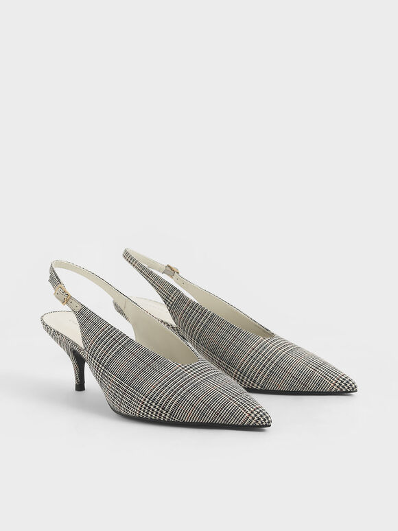Check-Print Pointed Toe Slingback Court Shoes, Light Grey, hi-res
