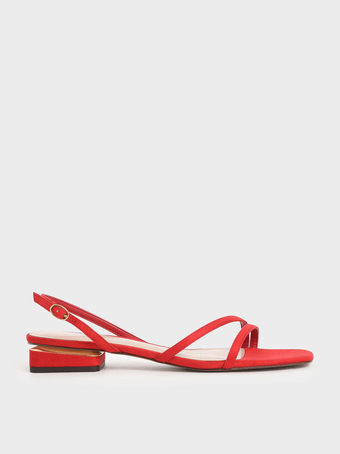 Textured Strappy Slingback Heels, Red, hi-res