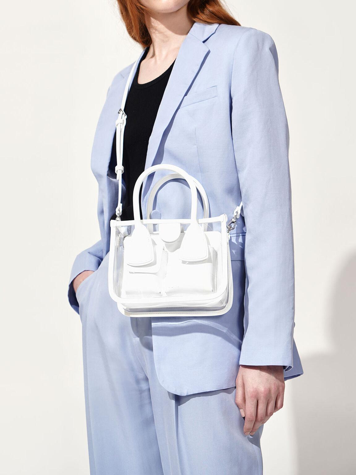 See-Through Effect Handbag, White, hi-res