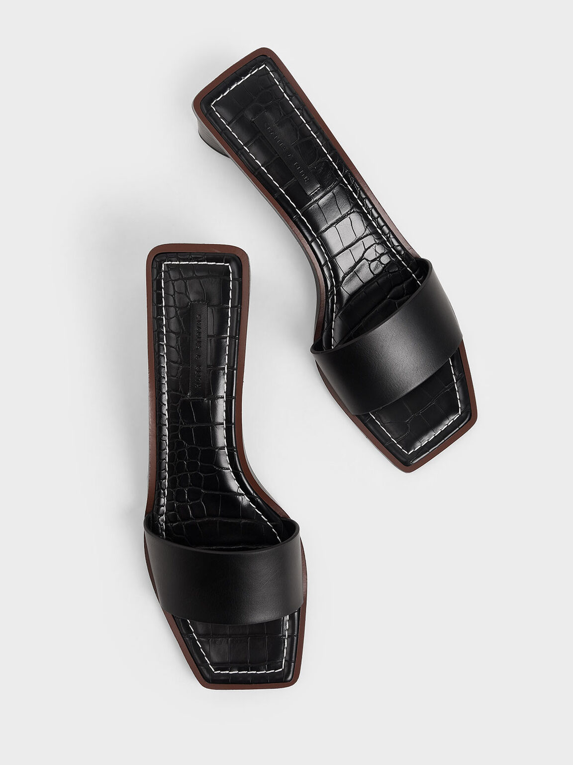 Croc-Effect Clear Strap Mules, Black, hi-res