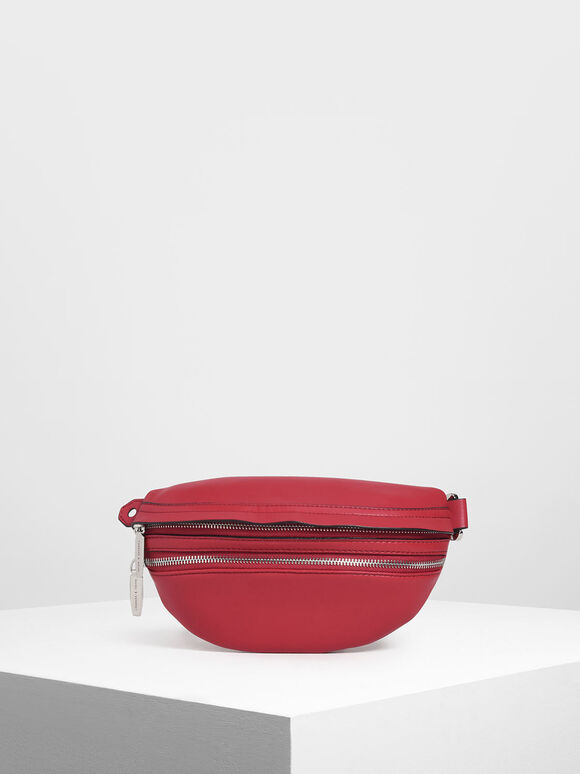 Chain Strap Belt Bag, Red, hi-res