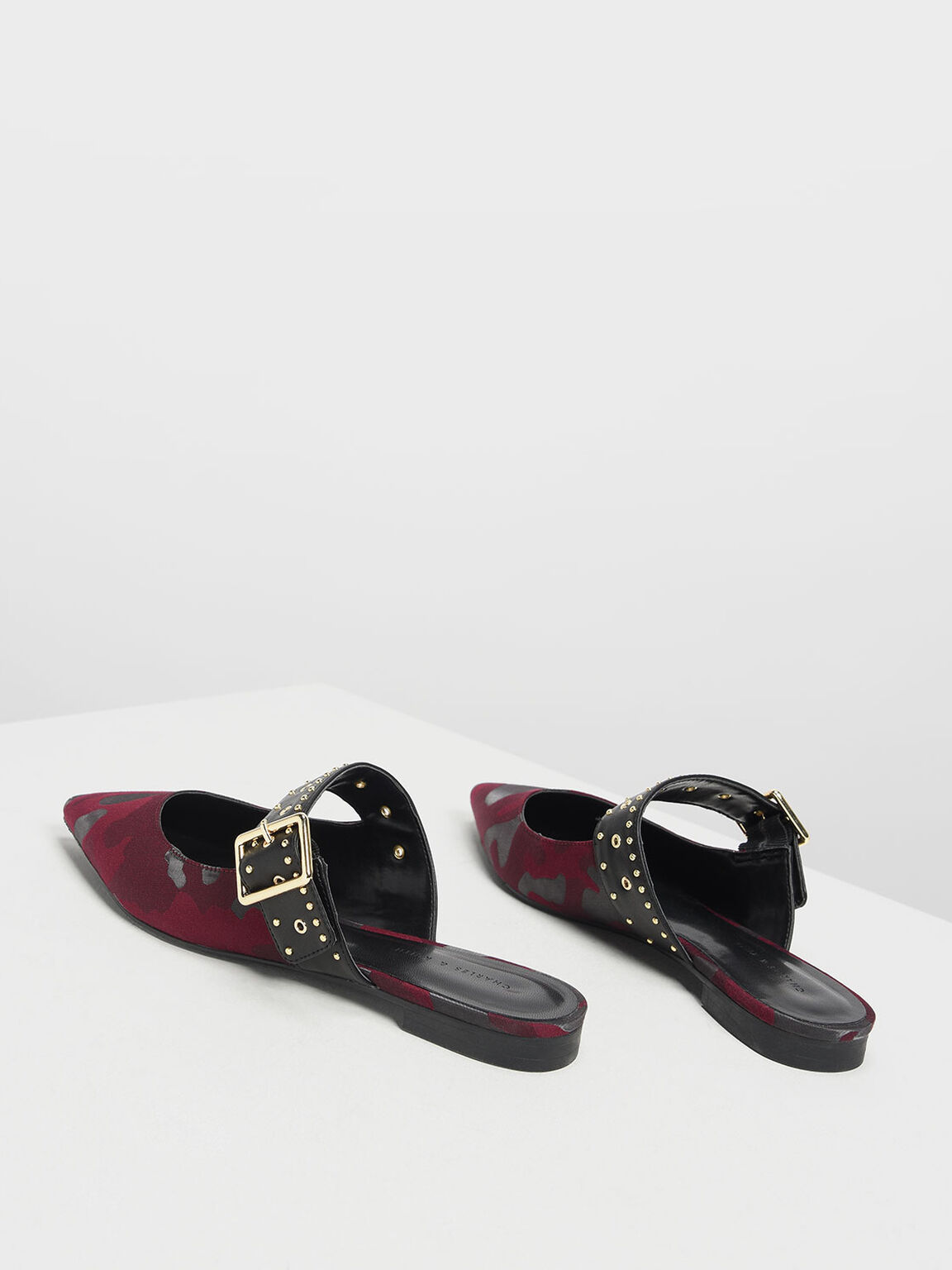 Studded Buckle Mules, Red, hi-res