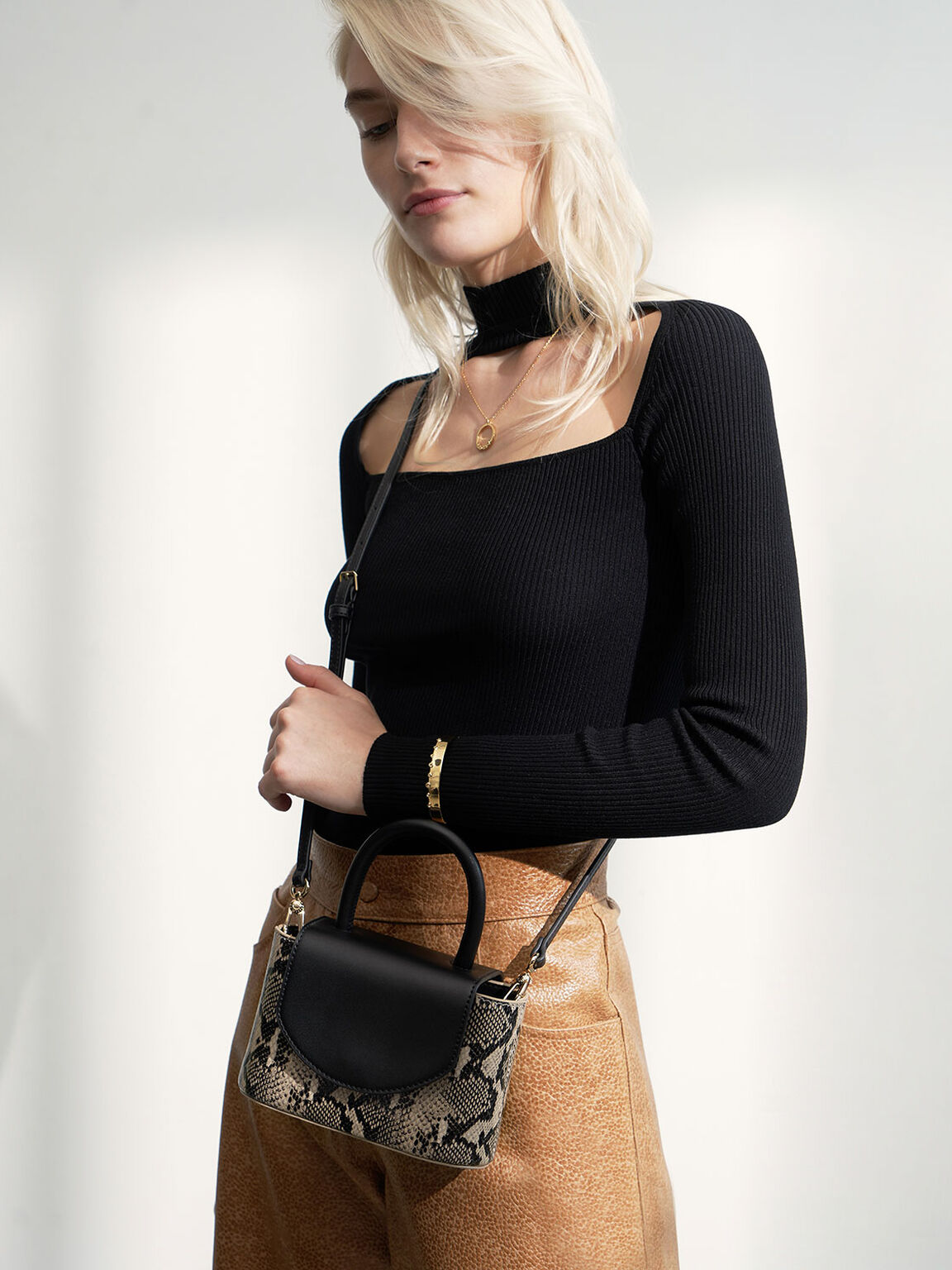 Snake Print Leather Cylinder Bag, Black, hi-res