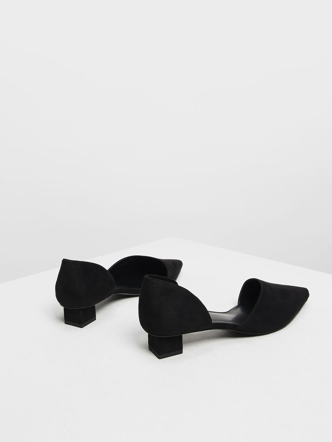 Asymmetrical Peep Toe Pumps, Black, hi-res