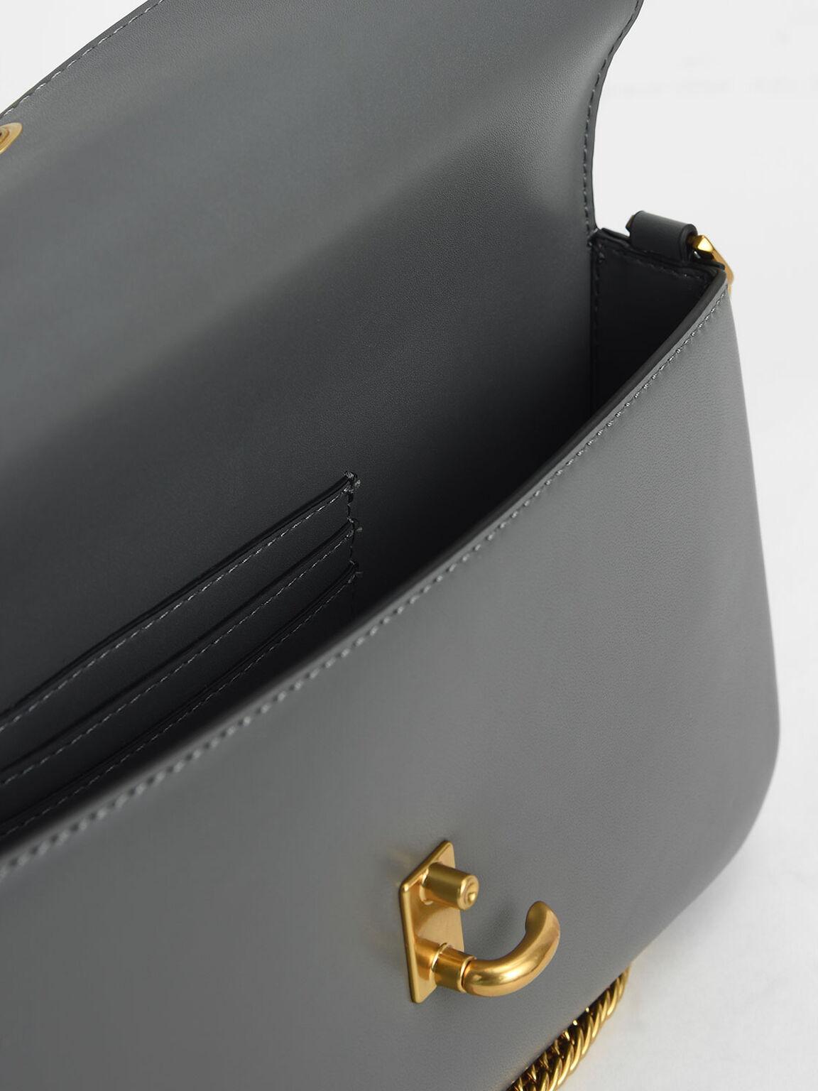 Chain Link Turn-Lock Bag, Grey, hi-res