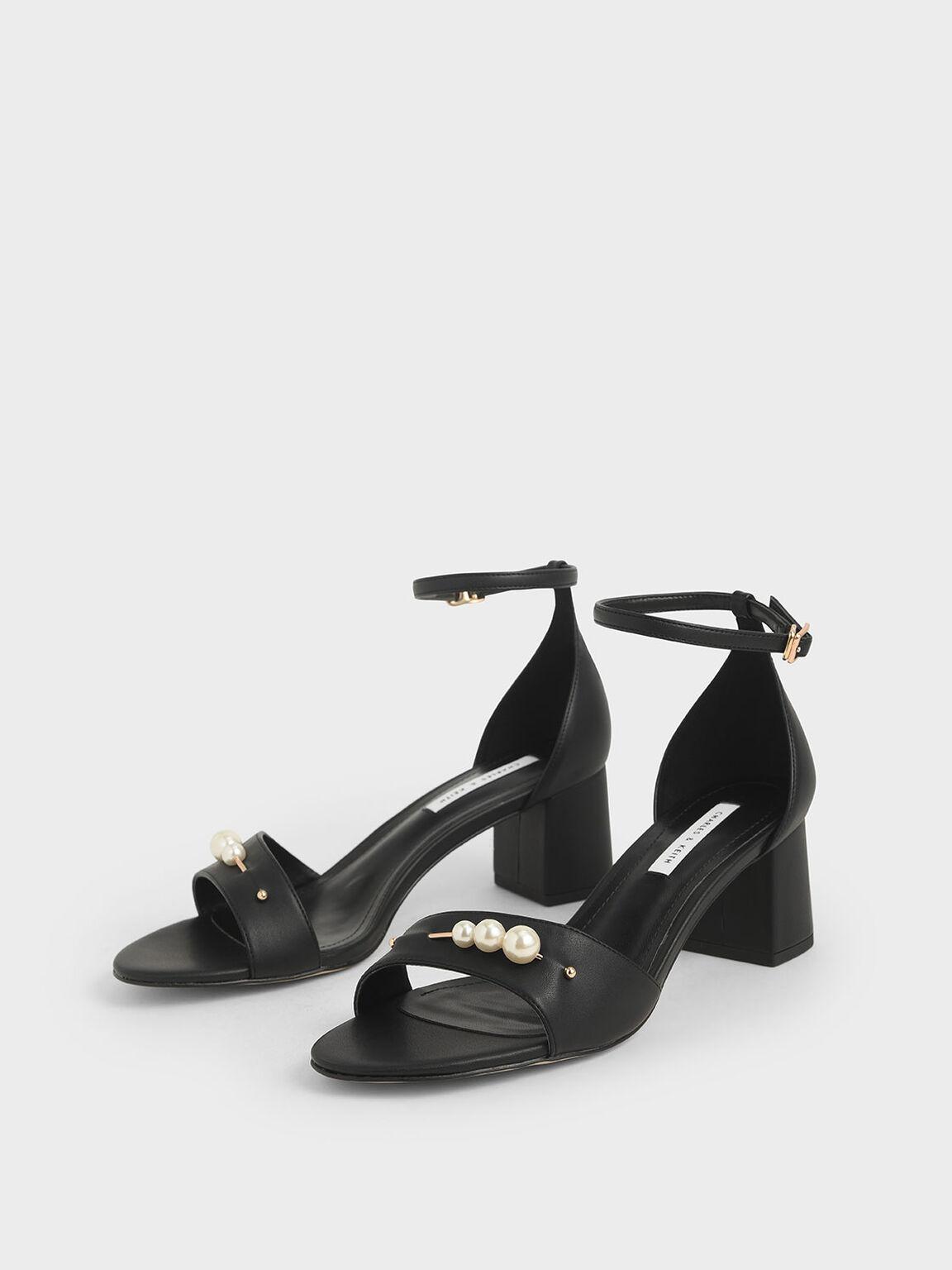 Embellished Block Heel Sandals, Black, hi-res