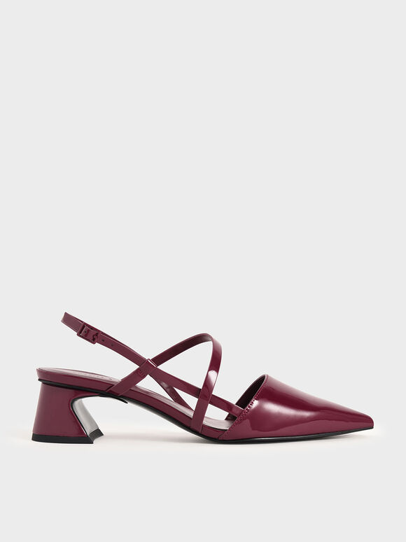Patent Strappy Trapeze Heel Court Shoes, Red, hi-res