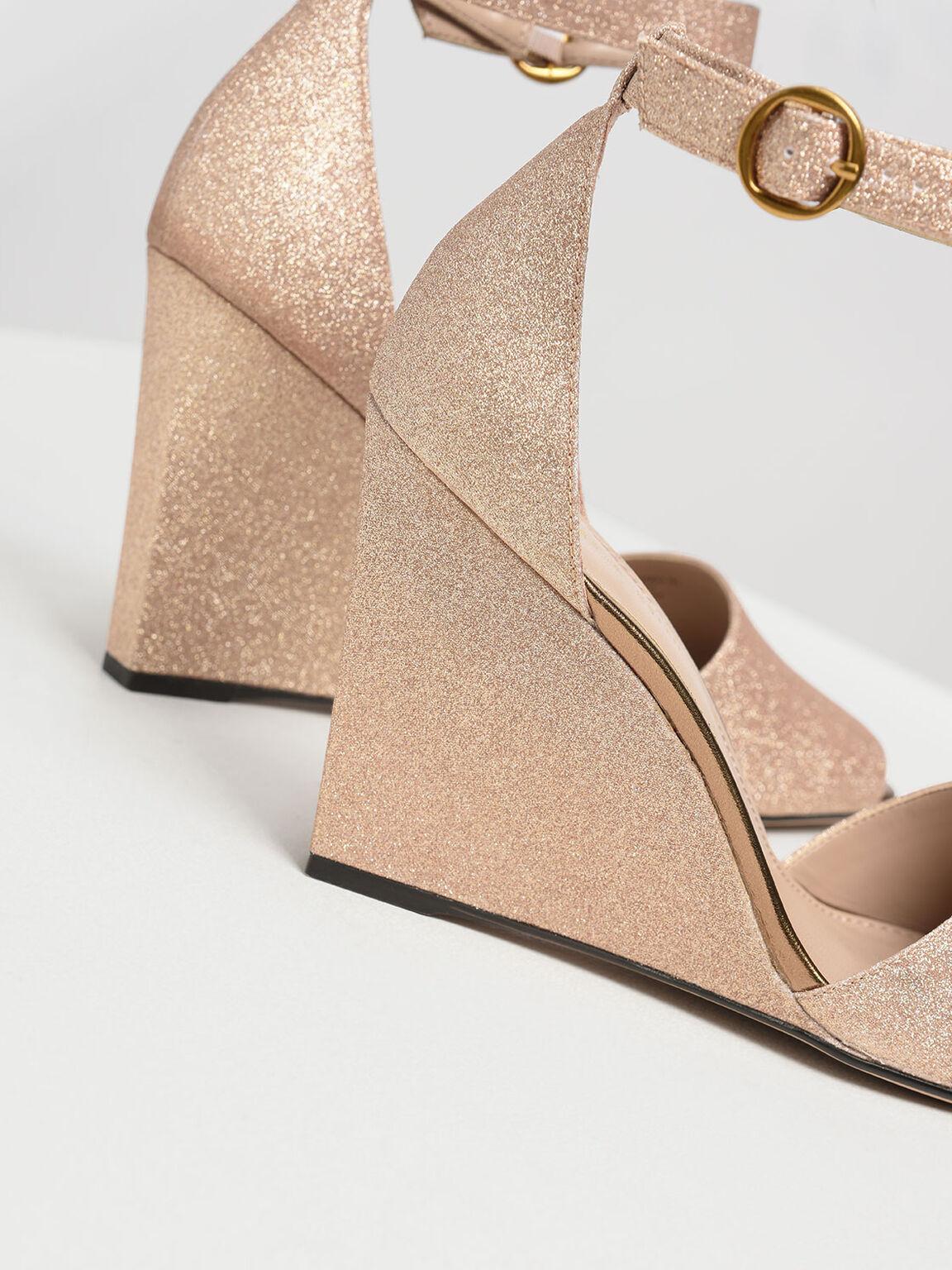 Glitter Peep Toe Wedges, Gold, hi-res