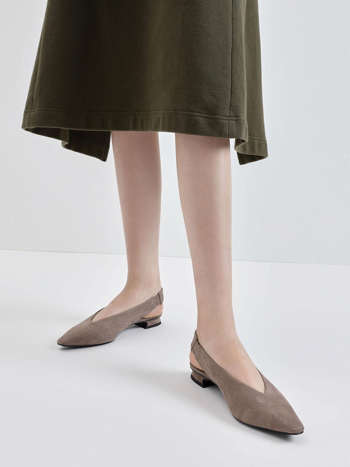 Textured Mini Square Toe Slingback Flats, Taupe, hi-res
