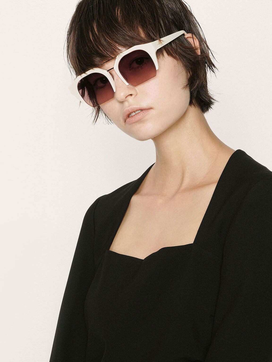 Cut-Off Frame Geometric Sunglasses, Mauve, hi-res