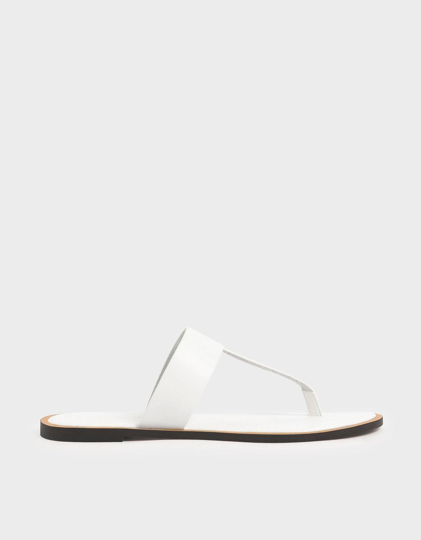 White T-Bar Slide Sandals