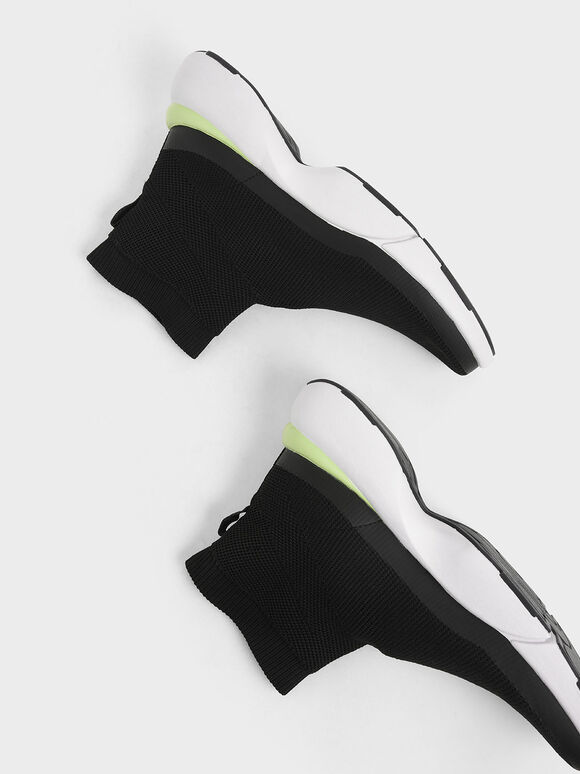 4WARD Collection: Knitted High Top Slip-On Sneakers, Black, hi-res