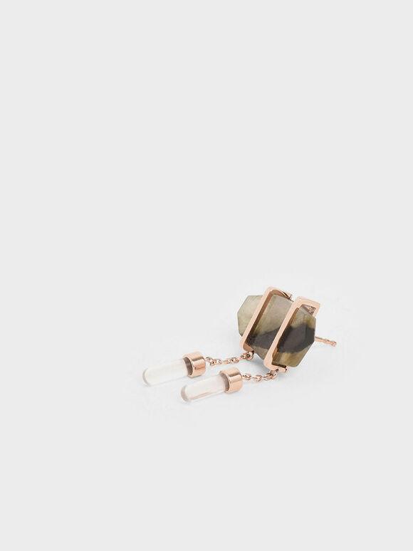 Labradorite Stone Drop Earrings, Rose Gold, hi-res