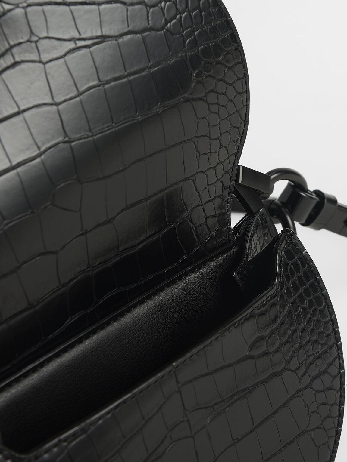 Croc-Effect Semi-Circle Clutch, Black, hi-res