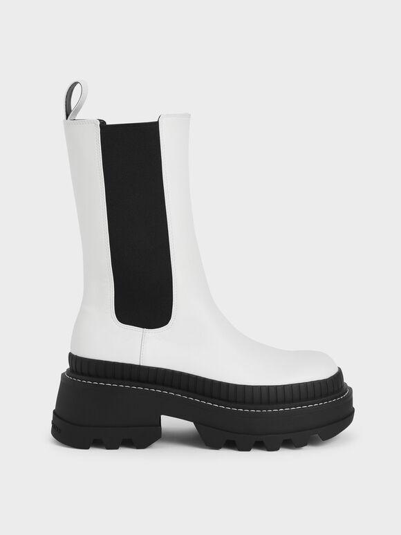 Rhys Chelsea Calf Boots, White, hi-res