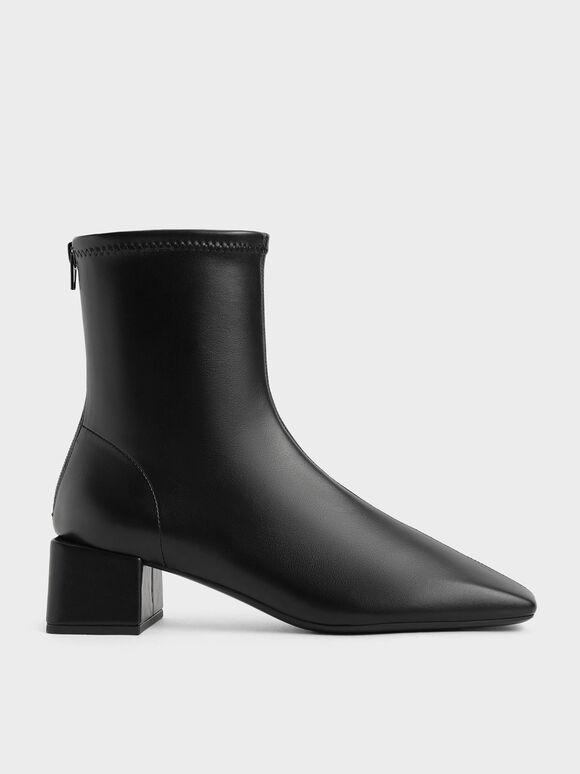 Block Heel Zip-Up Ankle Boots, Black, hi-res