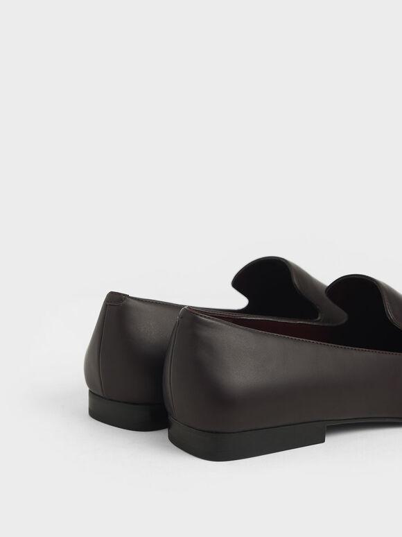 Brushed Effect Square Toe Loafers, Burgundy, hi-res