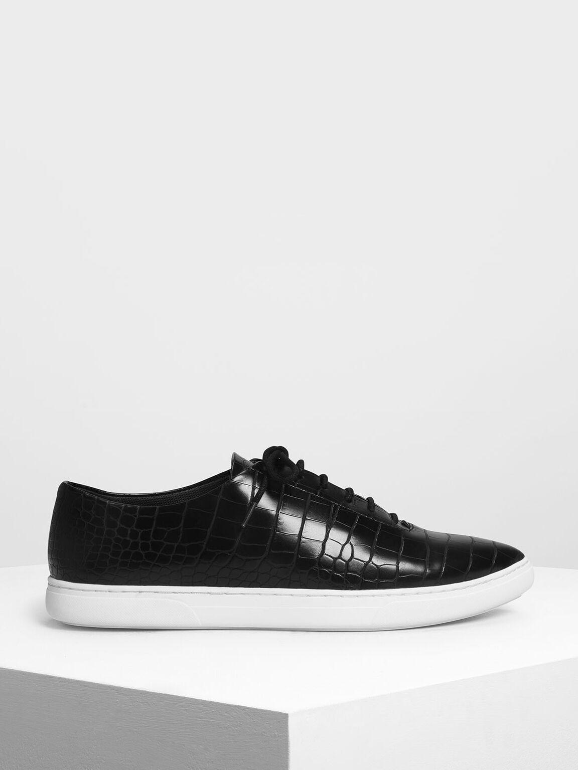 Pointed Sneakers, Black Textured, hi-res