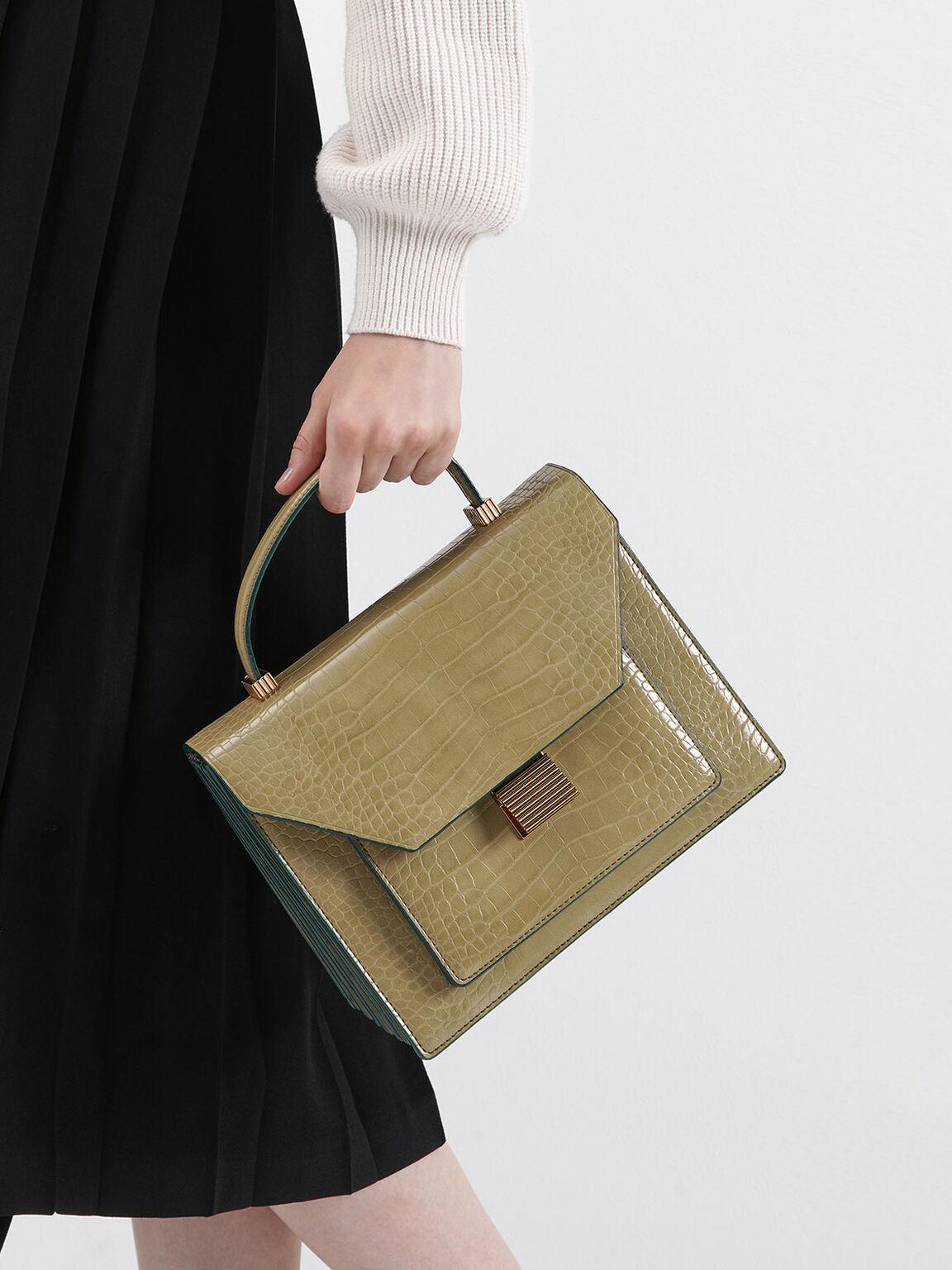 Croc-Effect Top Handle Bag, Sand, hi-res