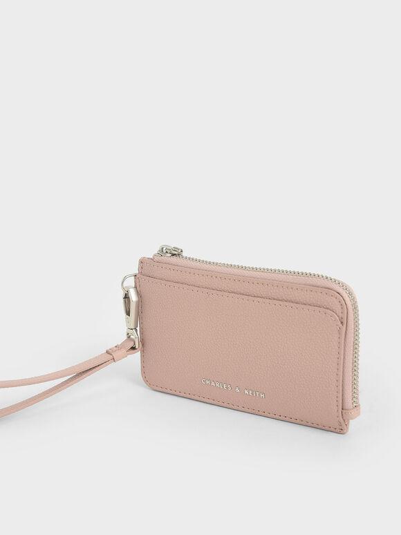 Top Zip Card Holder, Pink, hi-res