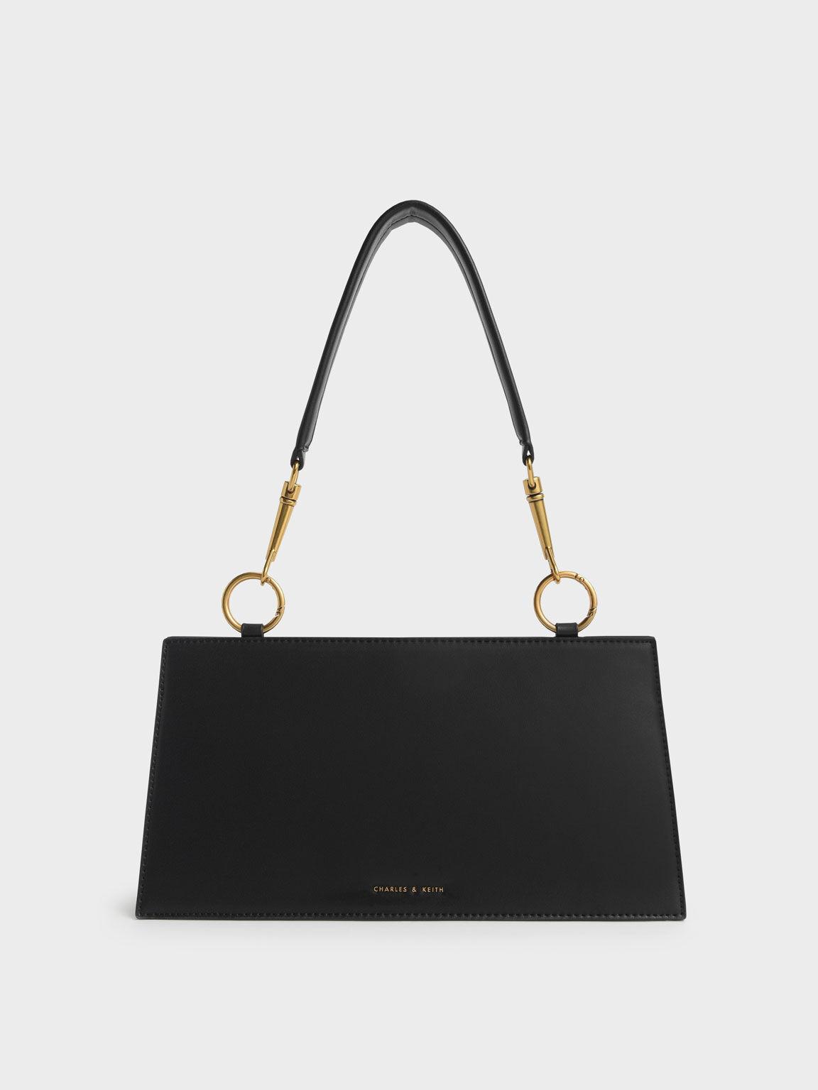 Ring Detail Shoulder Bag, Black, hi-res