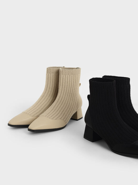 Knit Ankle Sock Boots, Black, hi-res