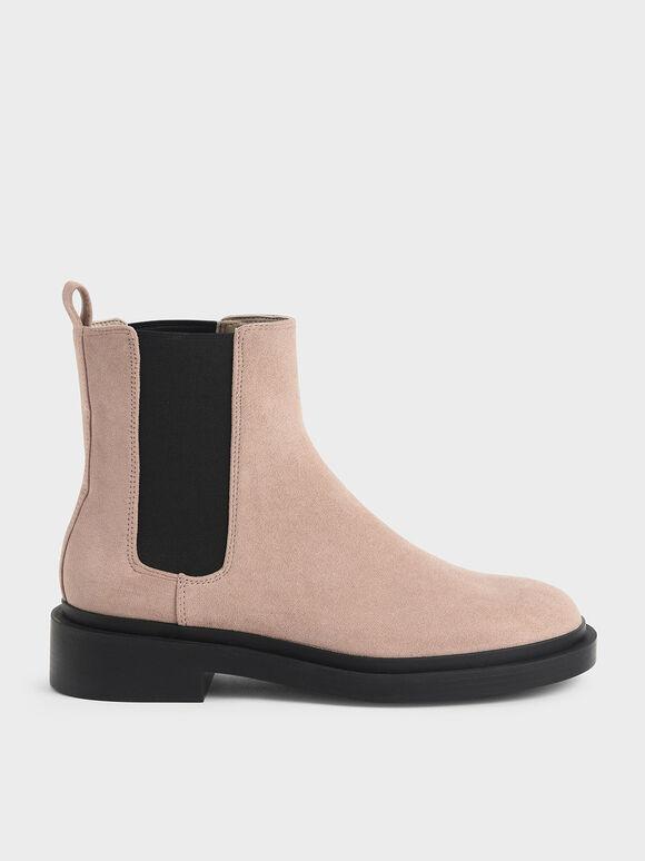 Textured Chelsea Block-Heel Boots, Nude, hi-res