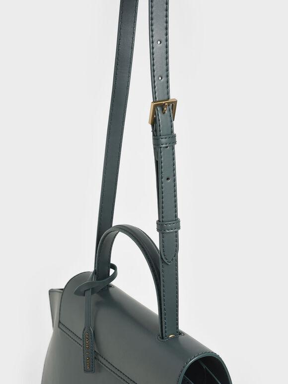 Geometric Top Handle Bag, Teal, hi-res